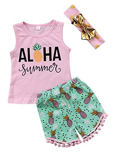 3Pcs Kids Baby Girls Summer Aloha Vest Tops+Pineapple Print Tassel Shorts+Headband Outfits Size 5-6 Years/Tag130 ()
