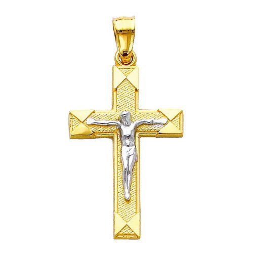The World Jewelry Center 14k Two Tone Gold Jesus Cross Religious Pendant with 1.5mm Flat Open Wheat Chain Necklace