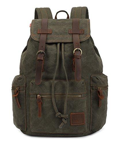 Greeniris mujer lona mochila viajar vendimia colegio mochila para niña ejercito verde