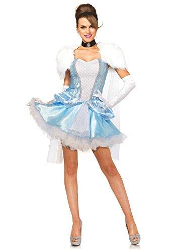 Leg Avenue Women's 4 Piece Slipper-Less Sweetie Princess Costume, Blue/White, (Costume For Less)