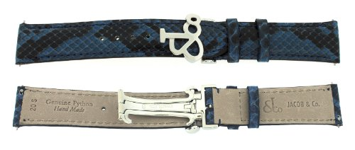 Jacob & Co. Genuine Real Python Blue Short Band Strap 20SMM For 40MM Watch by Jacob & Co.