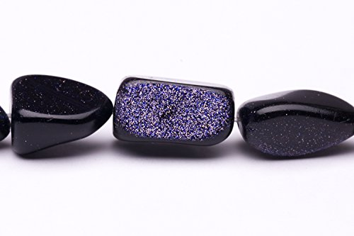 - Natural Form Nugget Blue Goldstone Beads Semi Precious Gemstones Size: 17x14mm Crystal Energy Stone Healing Power for Jewelry Making