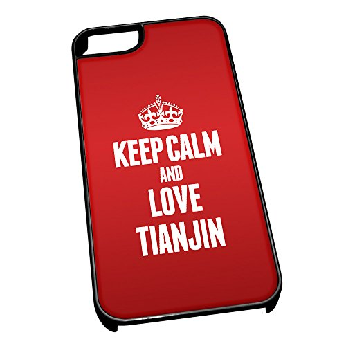 Nero cover per iPhone 5/5S 2378Red Keep Calm and Love Tianjin