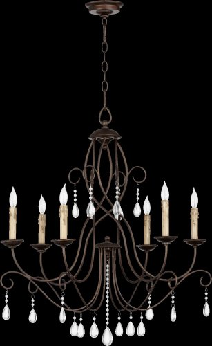 Cheap Quorum Cilia 6 Light Up Chandelier in Oiled Bronze