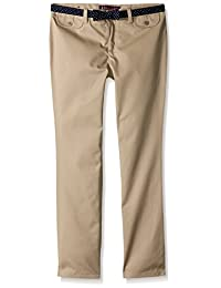 French Toast Big Girls' Twill Straight Leg Belted Pant