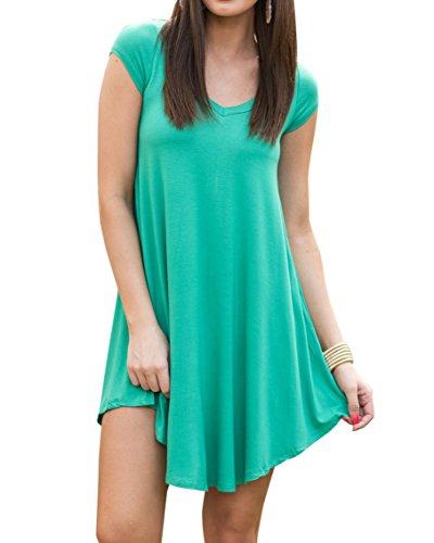 Beautife Womens Summer Tunic Dresses Short Sleeve Casual Crewneck Loose Fit Cotton Dress