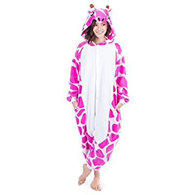 Emolly Fashion Pink Giraffe Animal Onesie Pajamas Costume for Women Teens Adults