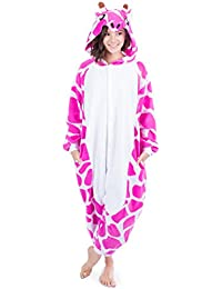 Pink Giraffe Animal Onesie Pajamas Costume For Women Teens Adults