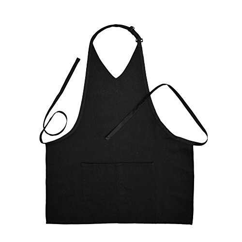 V-Neck Bib Apron 2-Pockets with Extra Long Ties (2, Black) (Dead Waiter Costume)