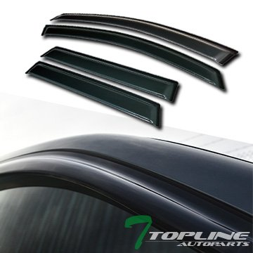 02 Ford Focus Wagon - Topline Autopart Smoke Window Visors Deflector Vent Shade Guard 4 Pieces For 00-07 Ford Focus 4/5 Door Wagon