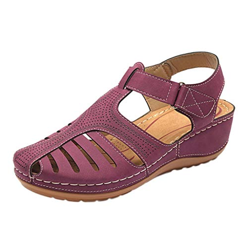 Women's Retro Wedges Comfortable Ankle Hollow Round Toe Sandals Soft Sole Shoes Purple