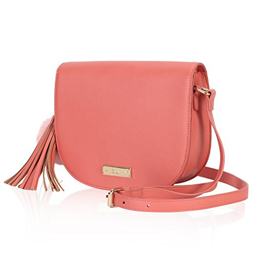 Women Shoulder Bag Saddle Bag Purse Faux Leather Crossbody Bag Coral
