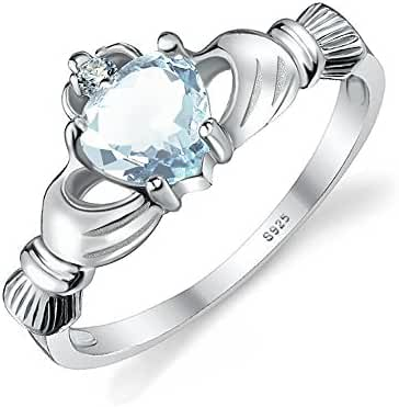 Jewelrypalace Women's 925 Sterling Silver 0.6ct Natural Aquamarine Claddagh Ring