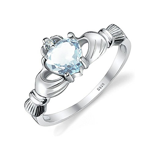 Jewelrypalace Womens 925 Sterling Silver 0.6ct Genuine Natural Aquamarine Claddagh Ring Size 7