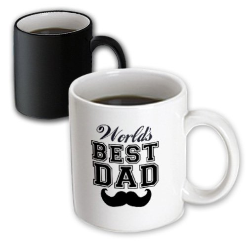 3dRose (mug_151260_3) Worlds best dad with funny black mustache - retro moustache vintage font - fathers day daddy gift - Magic Transforming Mug, 11oz (Mug Coffee Moustache)