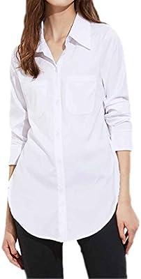 Chilie Blusa blanca dividida lateral de la calle alta de las mujeres Mujeres vuelven camisas largas de la manga del cuello XL: Amazon.es: Deportes y aire libre