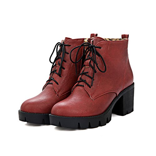AdeeSu Ladies Solid Bandage Round Toe Imitated Leather Boots Red UIkTde