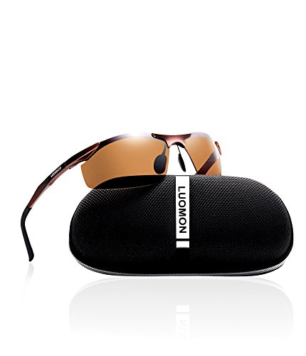 LUOMON Men's Polarized Wrap-Around Sport Sunglasses Al-Mg Aloy Brown Frame/Brown Lens Unbreakable Frame ()
