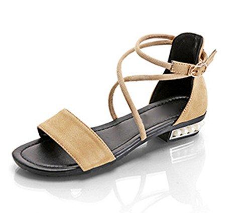 correas cruzadas sandalias de las mujeres del verano de la perla redonda sandalias de los zapatos de tacón bajo de la moda light yellow