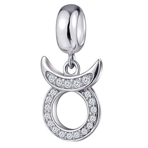 Taurus Zodiac Sign Charms for Pandora Charm Bracelets - 925 Sterling Silver Necklace Pendants, 12 Constellation/Horoscope Star Dangle - Dangling Birthstone Beads, Birthday Gifts Women/Men/Girls/Boys. (Lover Italian Charm)