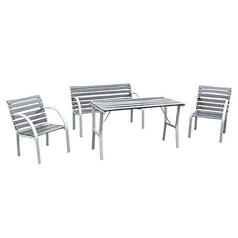 Salon de jardin Granada, ensemble, table+banc+2 fauteuils, bois ...