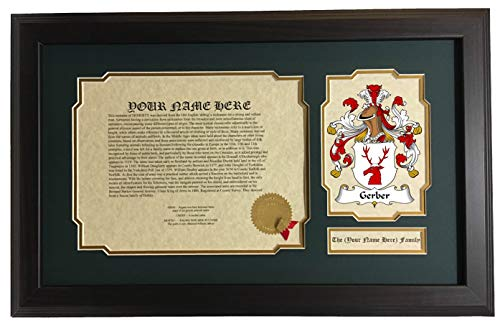 Gerber - Coat of Arms and Last Name History, 14x22 Inches Matted and Framed