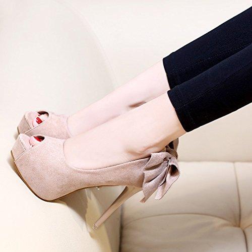 mesdames talons des des noeud sandales de chaussures etc automne sandales noir tables hauts abricot en trente un belles bouche six imperméable poisson la de couleur ZHANGJIA pq0zwn75