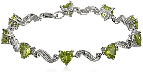 Diamond Wave Collection (Sterling Silver Peridot Heart and Diamond Accent Wave Bracelet, 7.25