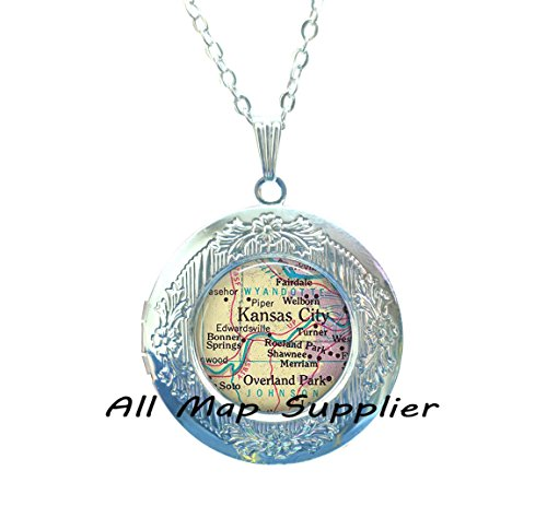 Charming Locket Necklace Kansas City Locket Necklace, Kansas City Locket Pendant, Overland Park Locket Pendant, map jewelry, map Locket Necklace, map jewellery,A0006