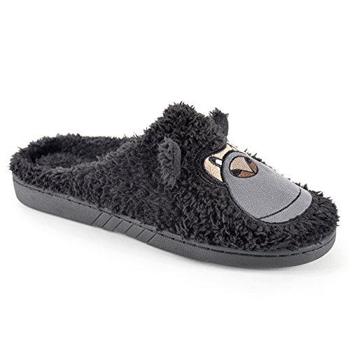 SlumberzzZ Mens Gorilla Embroidered Faux Fur Mule Slippers Black