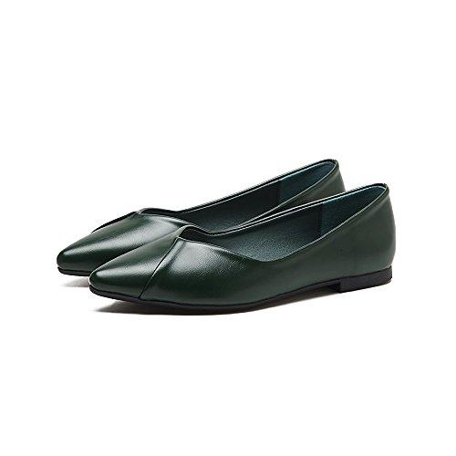 Xue Qiqi Punta Plana con Solo Zapatos luz Hembra-Calzado Plano Simple Zapatos Bajos con los Cuatro Zapatos de Mujer El verde
