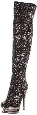 Pleaser Women's Fascinate-3010/BS/PCH Platform Sandal,Black Suede/Pewter Chrome,5 M US
