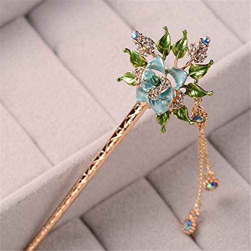 Wall of Dragon Beauty Women Handmade Colorful Enamel Rose Flowers Hairpin Rhinestone Crystal Hair Sticks Pin Girls Chinese Style Hair Jewelry
