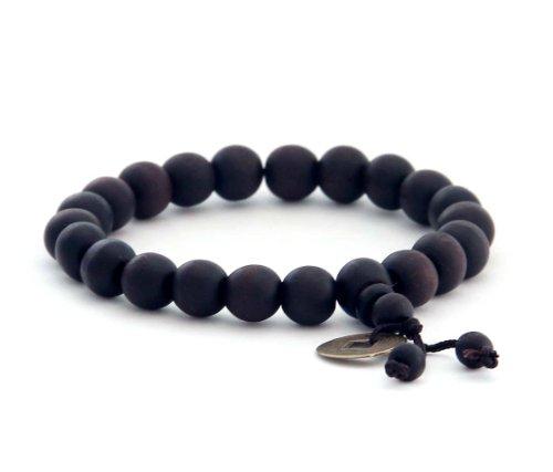 9mm Peach Wood Beads Tibetan Buddhist Prayer Wrist Mala Bracelet (Beads Wood Peach)