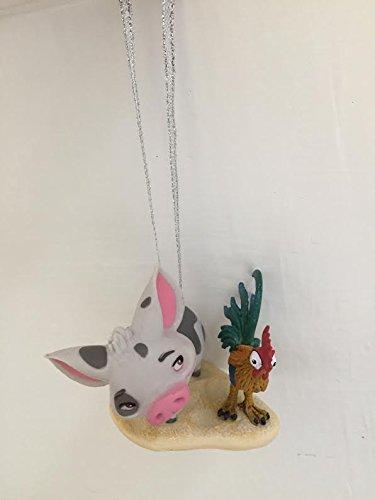 Disney Moana Pua And Heihei Pet Pig And Rooster Holiday Christmas Tree Ornament PVC Figure 2'' Figurine