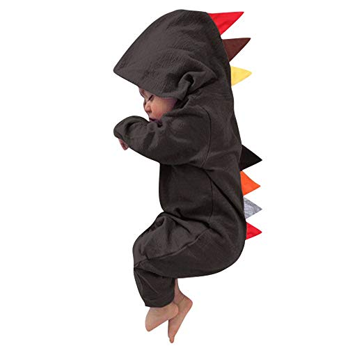 (MOONHOUSE Toddler Kids Baby Girls ❤️❤️ Halloween Cosplay Dinosaur Hooded Romper Jumpsuit Outfits Clothes (18-24 m,)