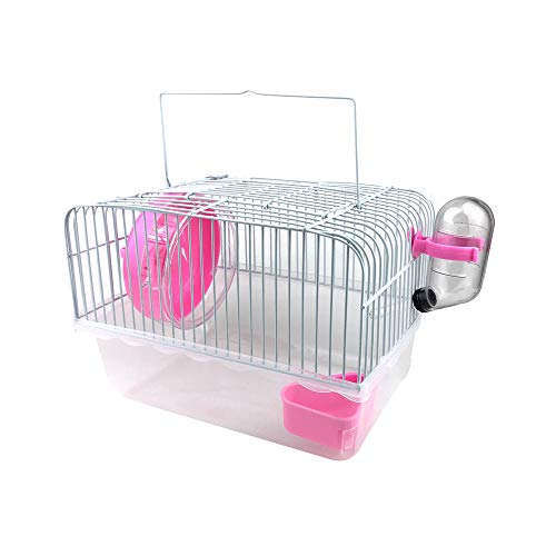 Petzilla Basic Hamster Cage Habitat, Travel Carrier for Small Animal (Pink)