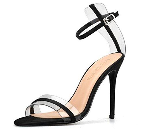 Prom Evening Black Sexy Sandals High Pumps XIUWU Heel Women's Transparent wHvtRzqX