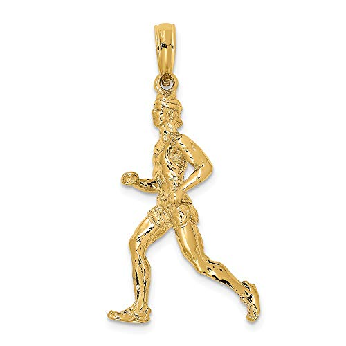 14k Yellow Gold 3 D Runner Jogger Pendant Charm Necklace Sport Running Fine Jewelry Gifts For Women For Her