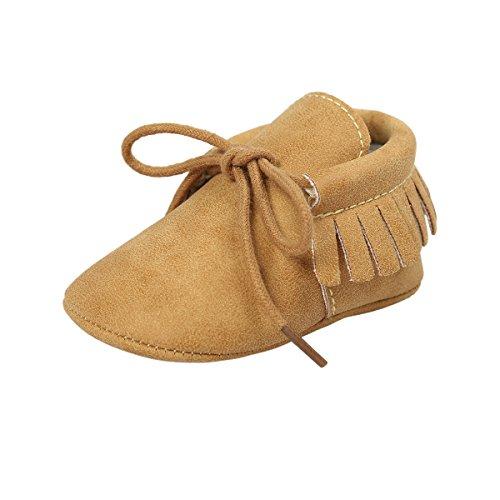 ESTAMICO Baby Jungen Mädchen Weiche Sohle Quaste Schnüren Sneakers Mokassins Schuhe Gelb