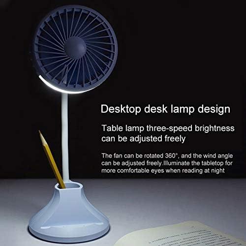 Cooling Fan Sprayeross YHM WT-D8 2000mAh 360 Degree Rotation Mini Portable Light Fan with 3 Speed Control/& Phone//Pen Holder Color : Blue Pink