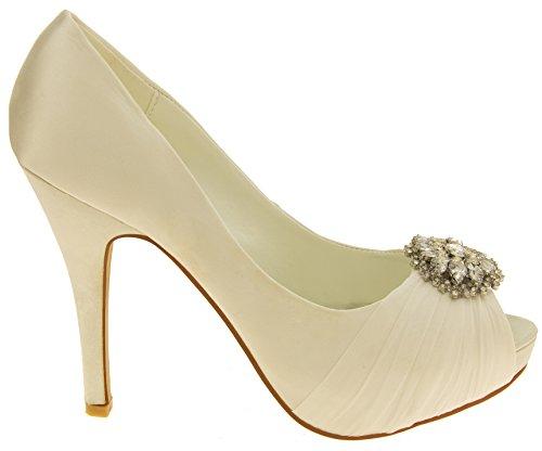 Mujer Sabatine Satén diamante racimo nupcial boda zapatos Marfil