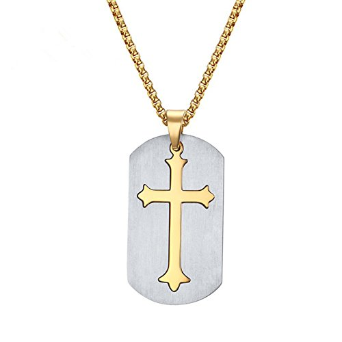 Birthday Cake 14k Gold Charm - Sunling Stainless Steel Cross Necklace for Easter 2 Pieces Polished Crucifix Charm&Tag with 24 inch Gold Chain