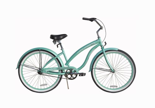 Firmstrong Bella Classic 3-Speed Beach Cruiser Bicycle, 26-Inch, Mint Green