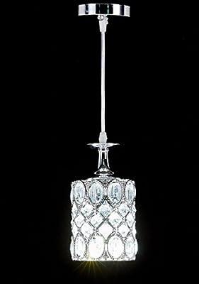 Diamond Life 1-light Chrome Finish Metal Shade Crystal Chandelier Hanging Pendant Ceiling Lamp Fixture, 8675