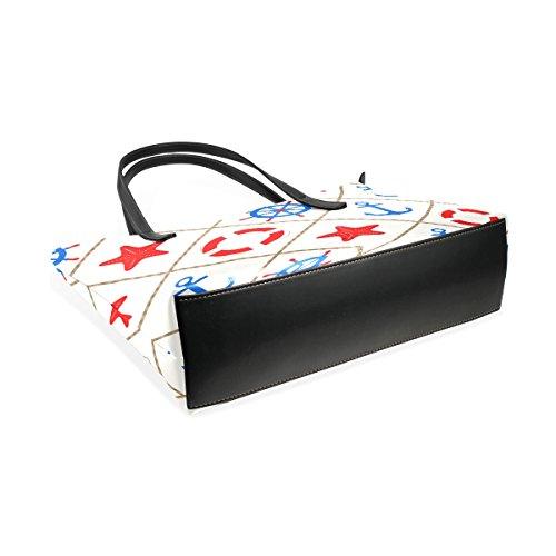 Coosun nautische Muster mit Meer Elemente PU-Leder Umhängetasche Handtasche und Handtaschen Tasche für Frauen