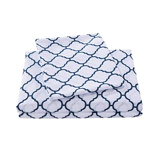 HollyHOME 1500 Soft Hypoallergenic Brushed Microfiber Print Bed Sheet Set, 4 Pieces Queen Size Sheets, (Blue Stripe Sheet)