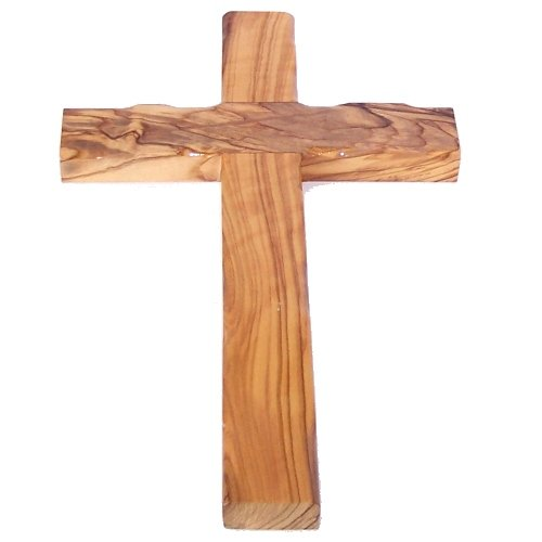 Simple Olive Wood Cross from The Holy Land - Stamped with Jerusalem on Back (25 cm or 10 inches)