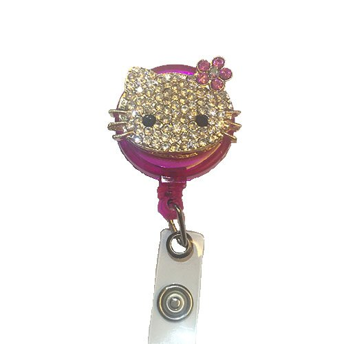 Bling Pink Cat Kitty Decorated Retractable Badge Reel ID Holder with Clip Backing