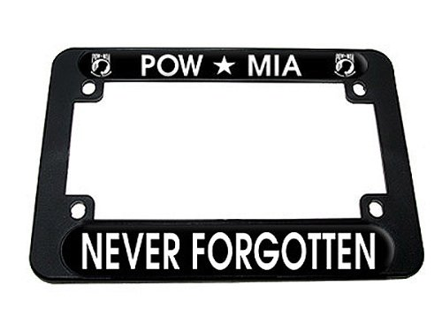 (Graphics and More POW MIA - Military Never Forgotten Motorcycle License Plate Tag Frame)